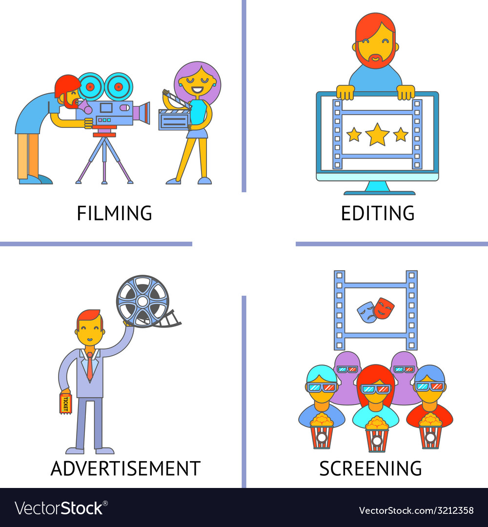 Filming editind advertisemen screening cinema vector | Price: 1 Credit (USD $1)