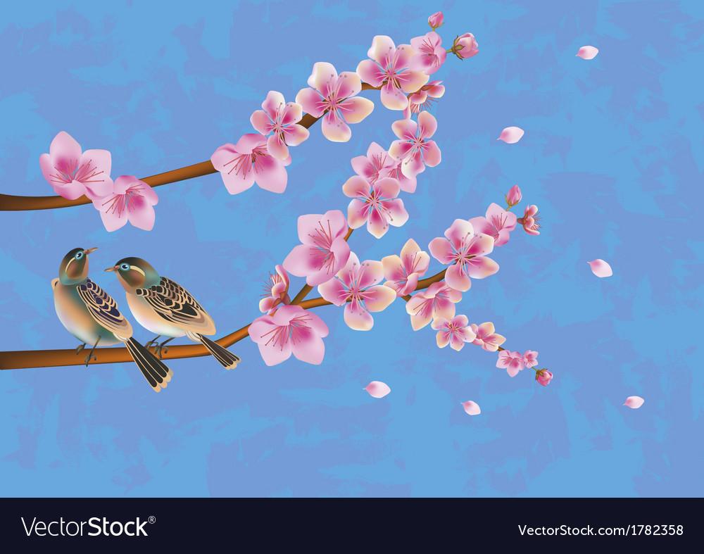 Love birds sakura spring valentines day vector | Price: 1 Credit (USD $1)