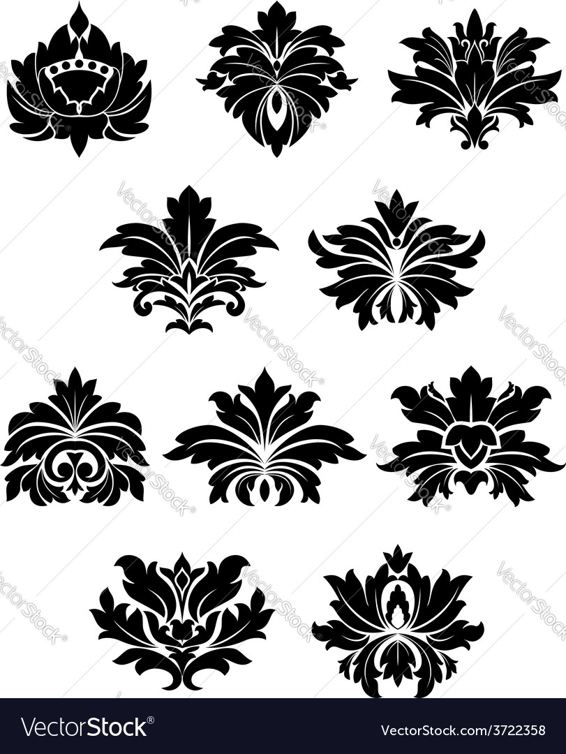 Lush black floral design elements vector | Price: 1 Credit (USD $1)