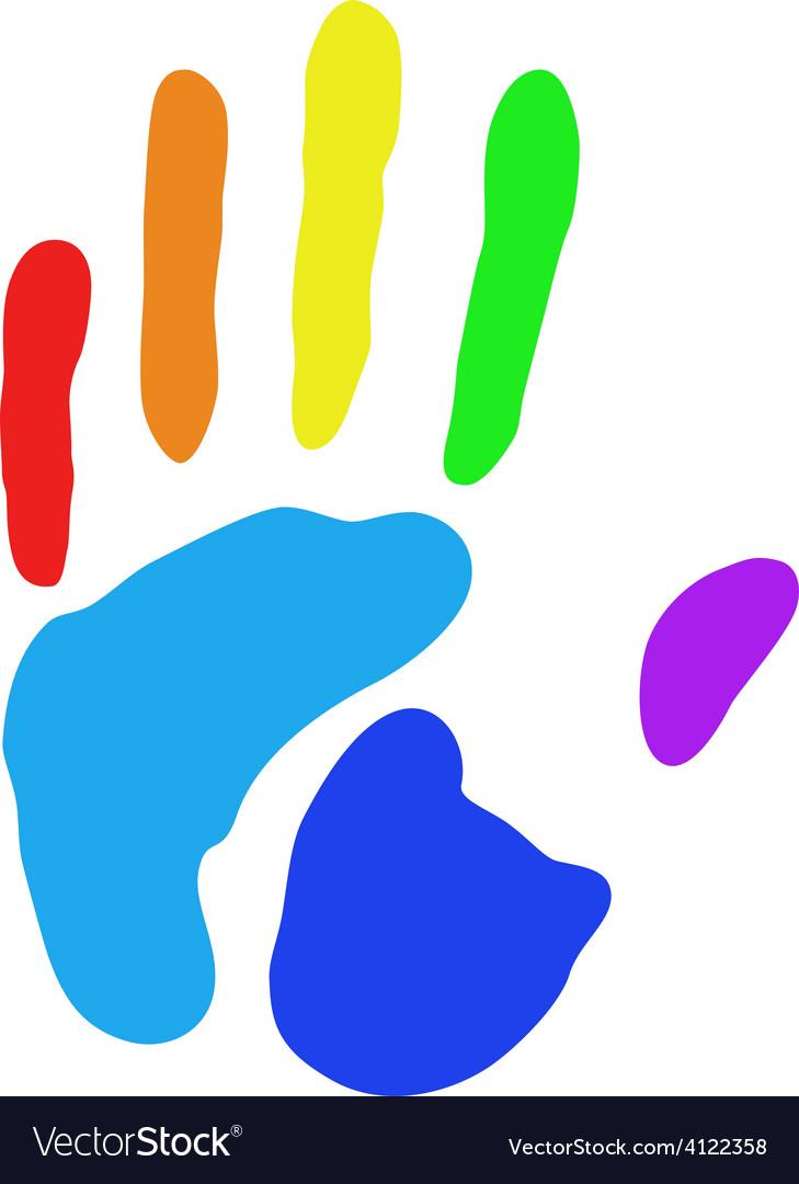 Rainbow hand print vector | Price: 1 Credit (USD $1)