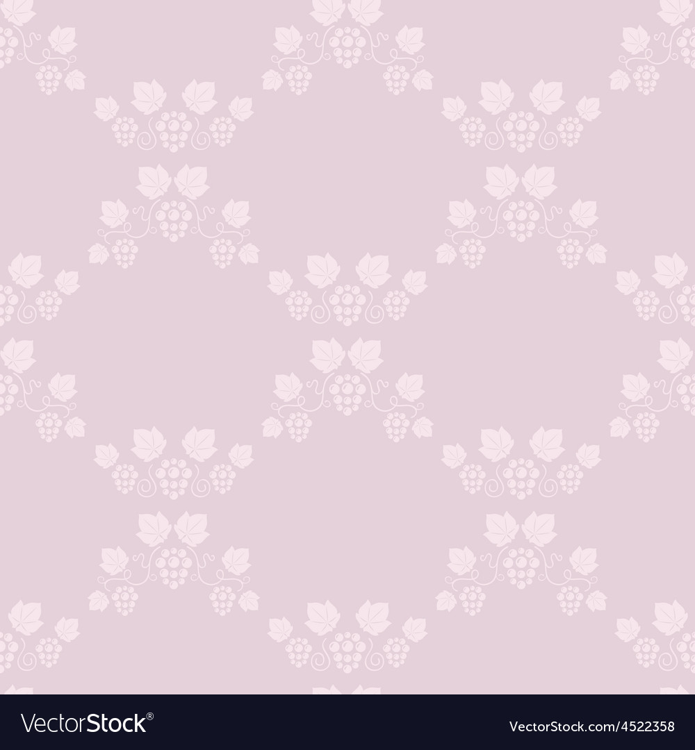Seamless grape vines pink background vector | Price: 1 Credit (USD $1)