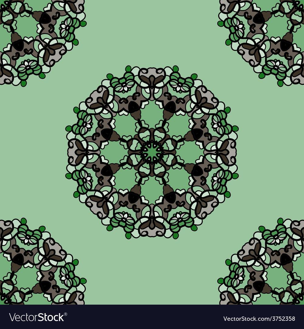 Seamless green mandala flower ornamental vector | Price: 1 Credit (USD $1)