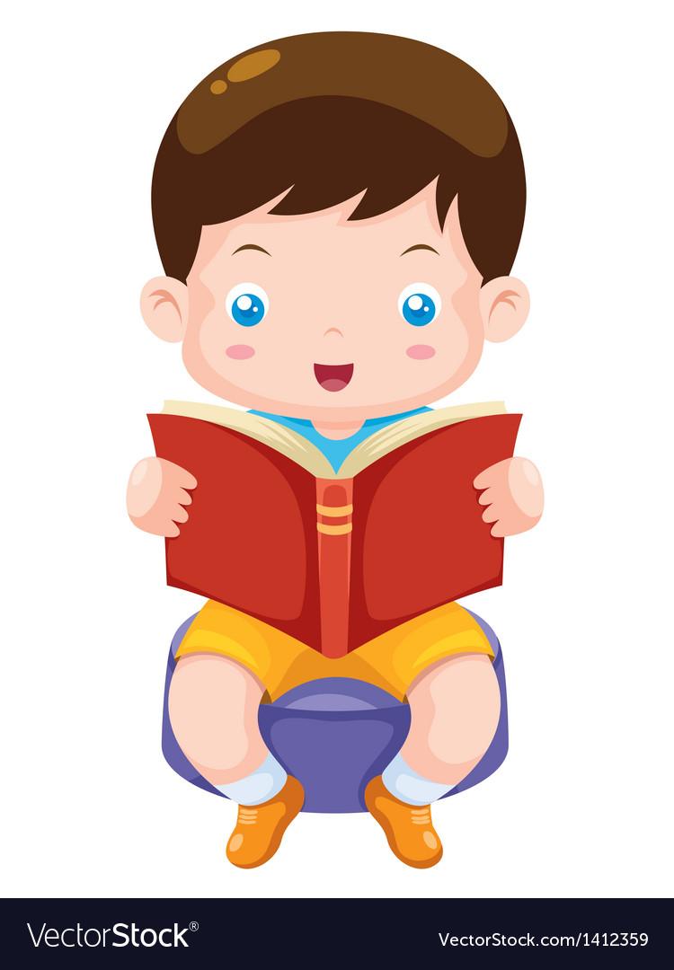 Boy reading book vector | Price: 1 Credit (USD $1)