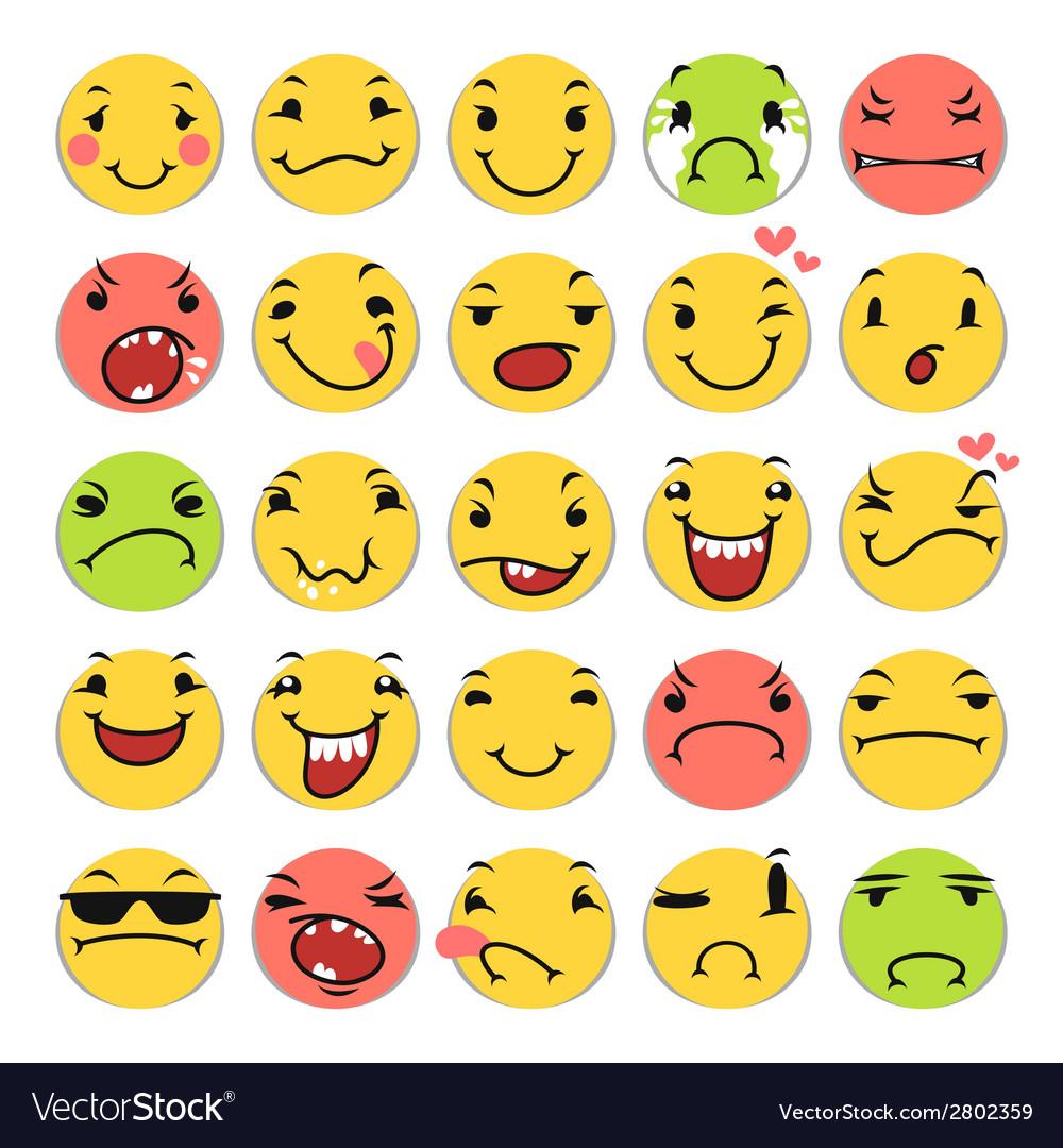 Cartoon smile icons set vector | Price: 1 Credit (USD $1)