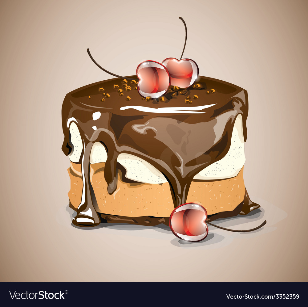 Chocolate cake with cherries vector | Price: 3 Credit (USD $3)
