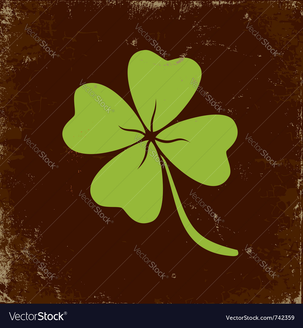 Clover with four leaves vector | Price: 1 Credit (USD $1)