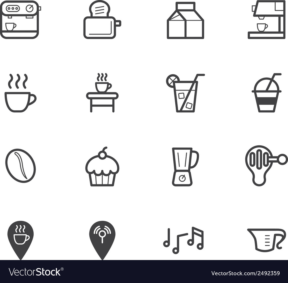 Coffee cafe element black icon set on white bg vector | Price: 1 Credit (USD $1)