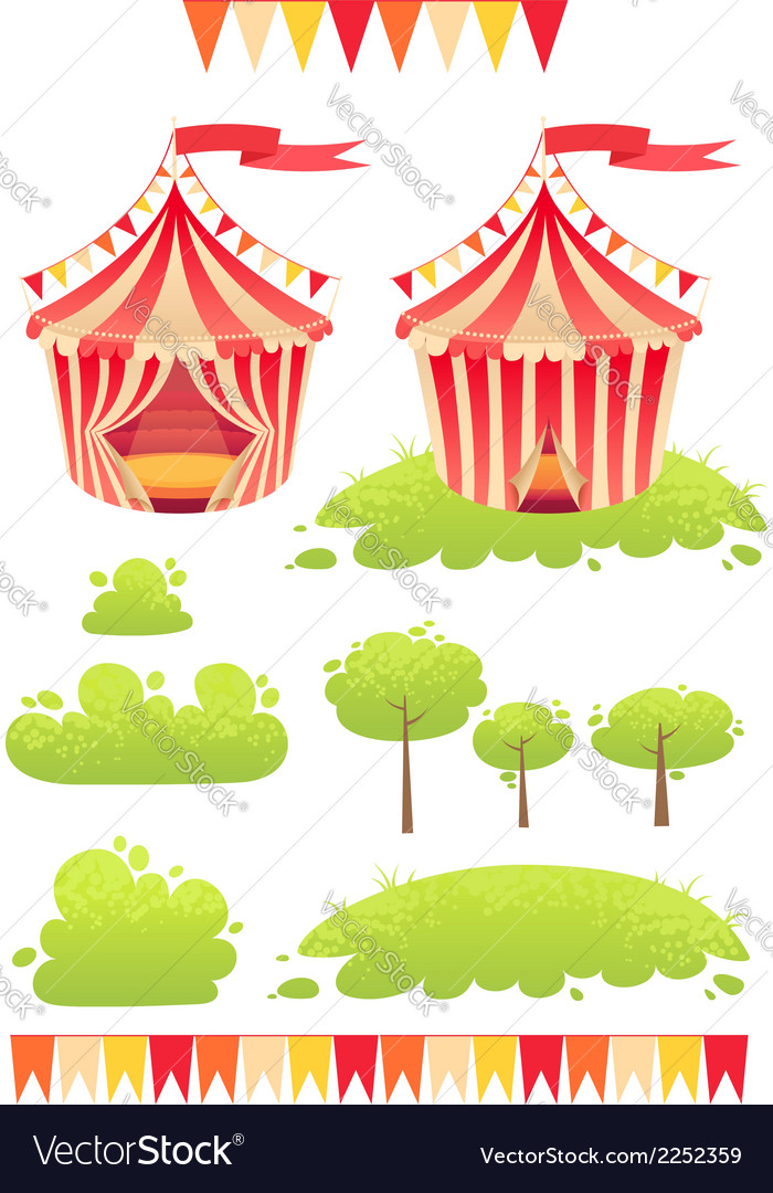 Cute cartoon tent show circus with set of banners vector | Price: 1 Credit (USD $1)
