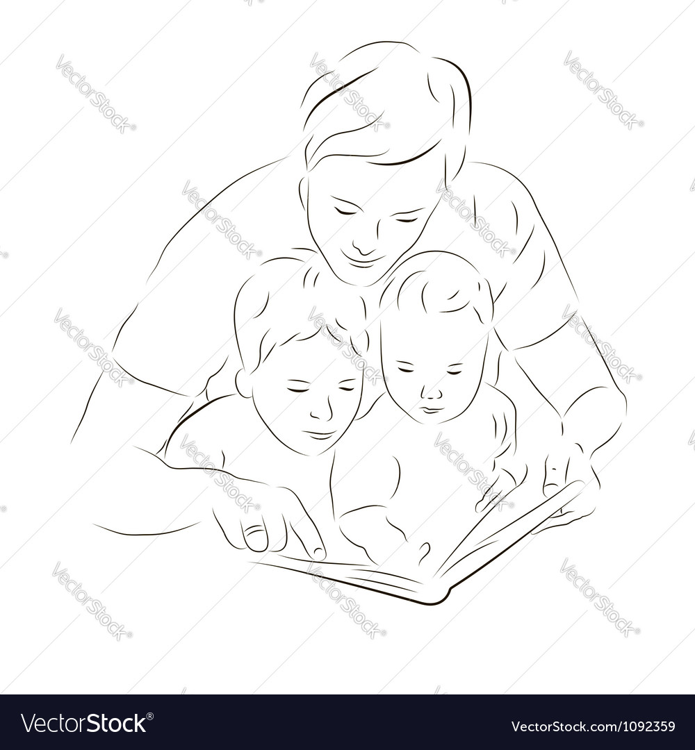 Father and sons reading a book vector | Price: 1 Credit (USD $1)