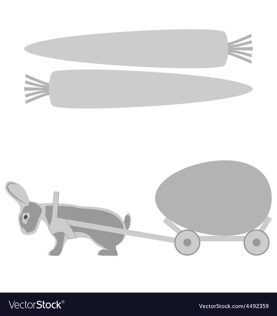 Grey rabbit pulls a cart with egg and carrot vector | Price: 1 Credit (USD $1)