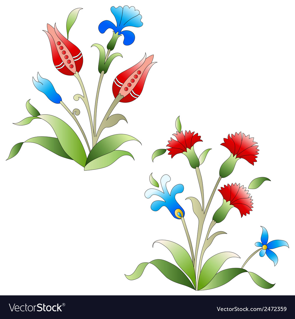 Ottoman art flowers nineteen vector | Price: 1 Credit (USD $1)