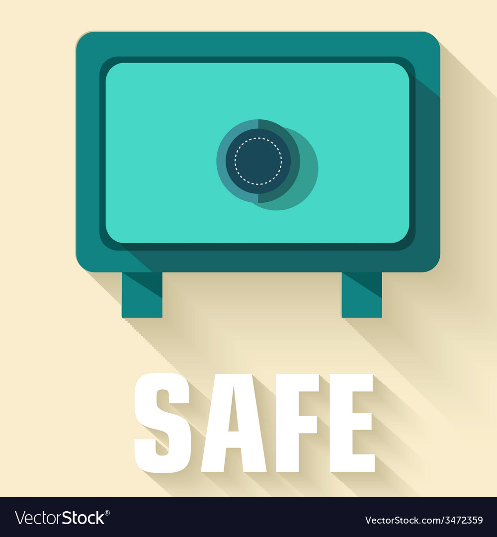 Retro flat safe icon concept design vector | Price: 1 Credit (USD $1)
