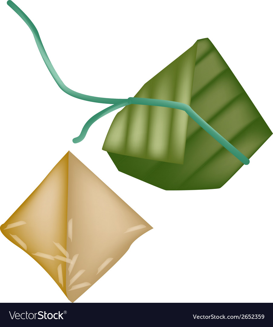 Rice dumpling or zongzi in bamboo leaf vector | Price: 1 Credit (USD $1)