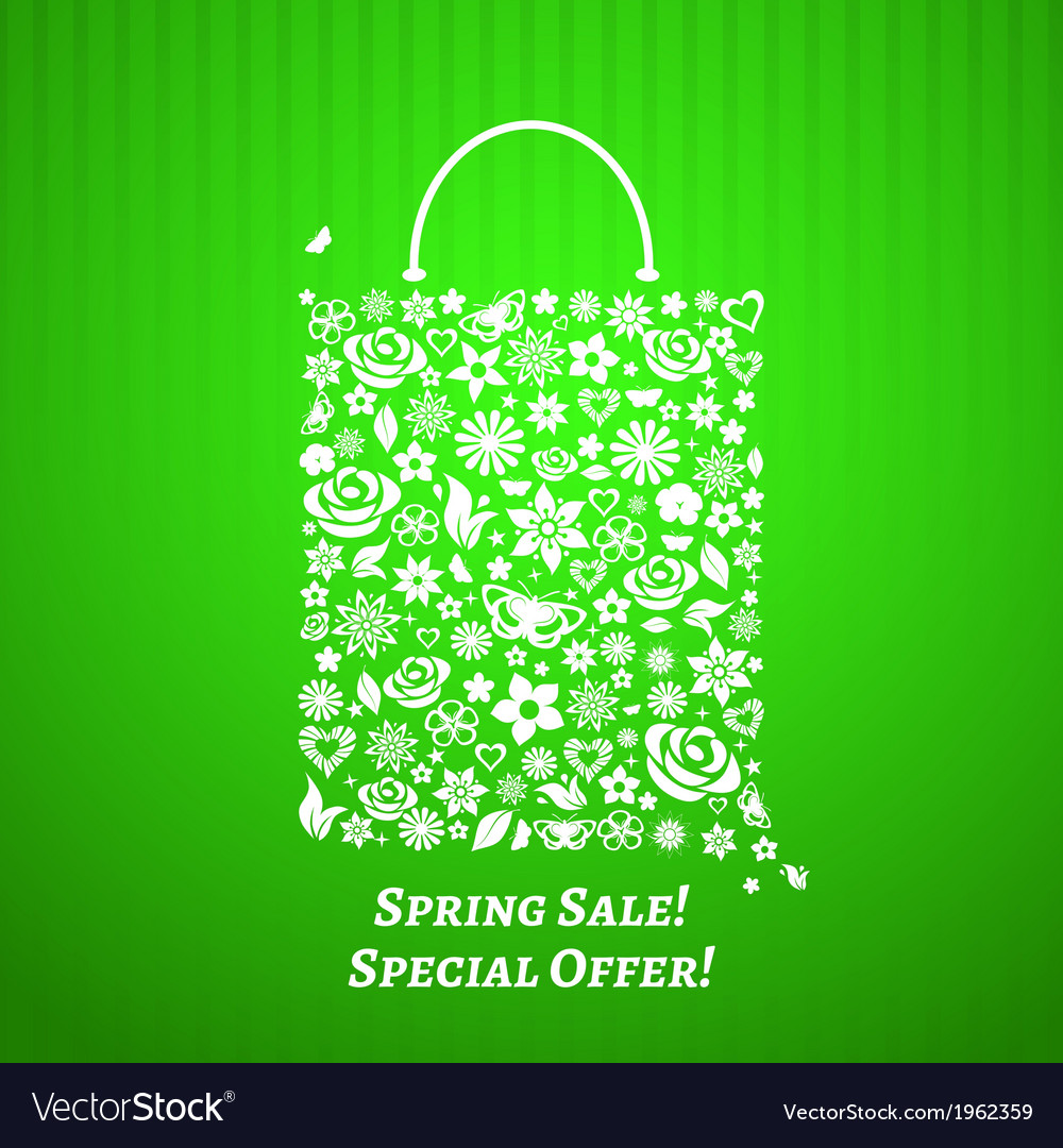 Shopping bag for spring sale vector | Price: 1 Credit (USD $1)