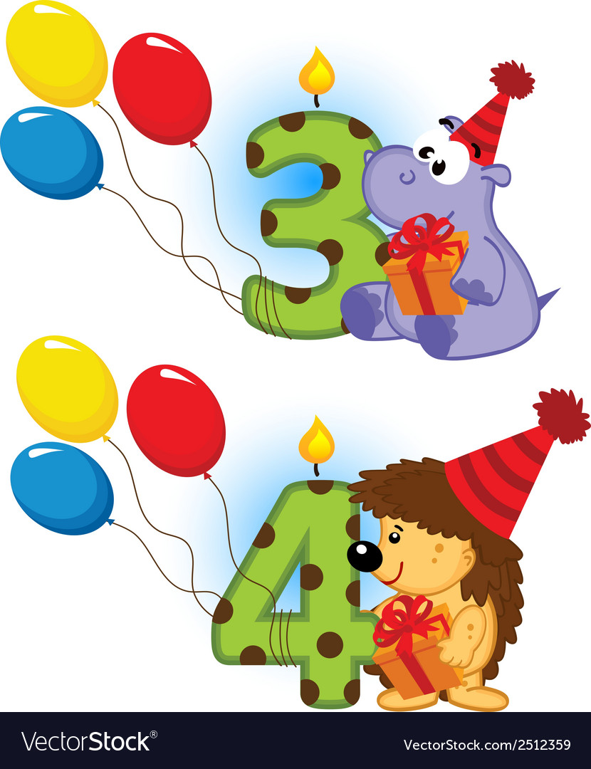 Third fourth birthday with animal vector | Price: 1 Credit (USD $1)