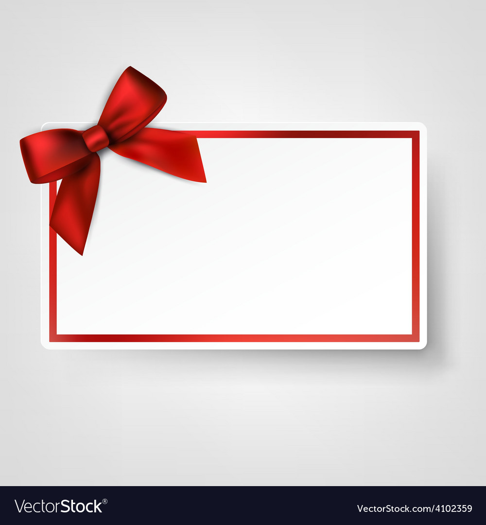 White paper card with gift red satin bow vector | Price: 1 Credit (USD $1)