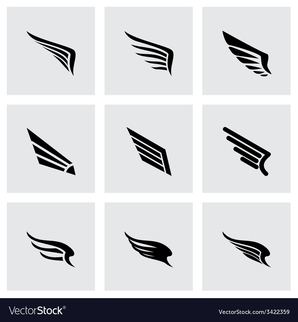 Wing icon set vector | Price: 1 Credit (USD $1)