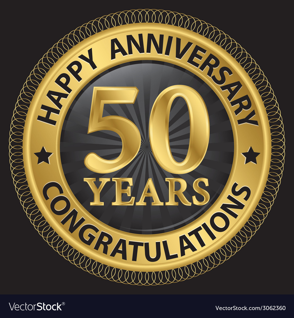 50 years happy anniversary congratulations gold vector | Price: 1 Credit (USD $1)