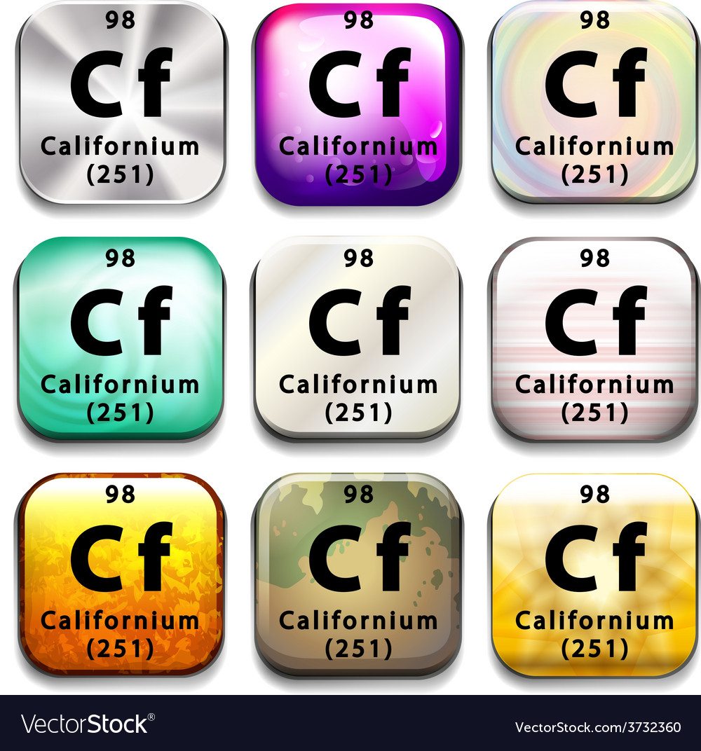 A button showing the element californium vector | Price: 1 Credit (USD $1)