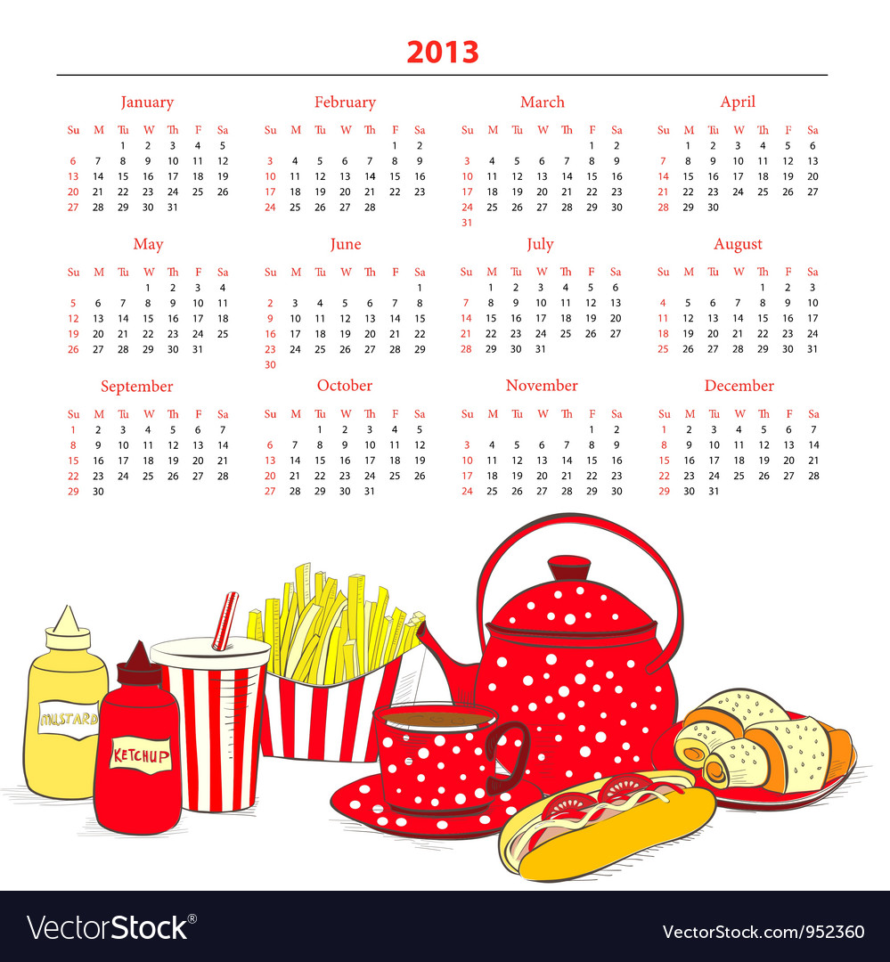 Calendar for 2013 with a lot of food vector | Price: 1 Credit (USD $1)