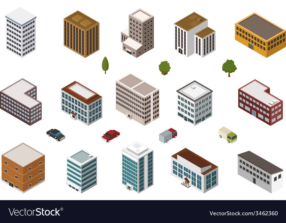 Isometric buildings vector | Price: 1 Credit (USD $1)