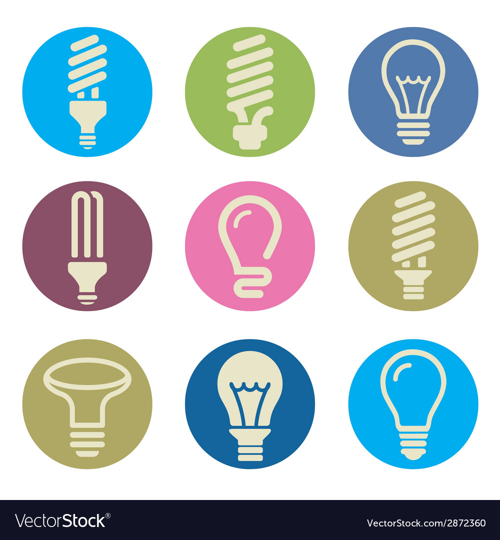 Light bulbs bulb icon set vector | Price: 1 Credit (USD $1)
