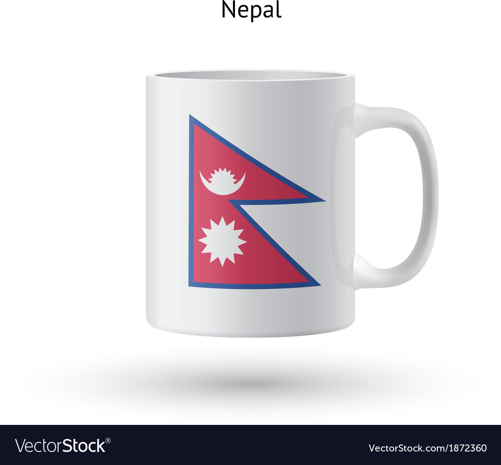 Nepal flag souvenir mug on white background vector | Price: 1 Credit (USD $1)