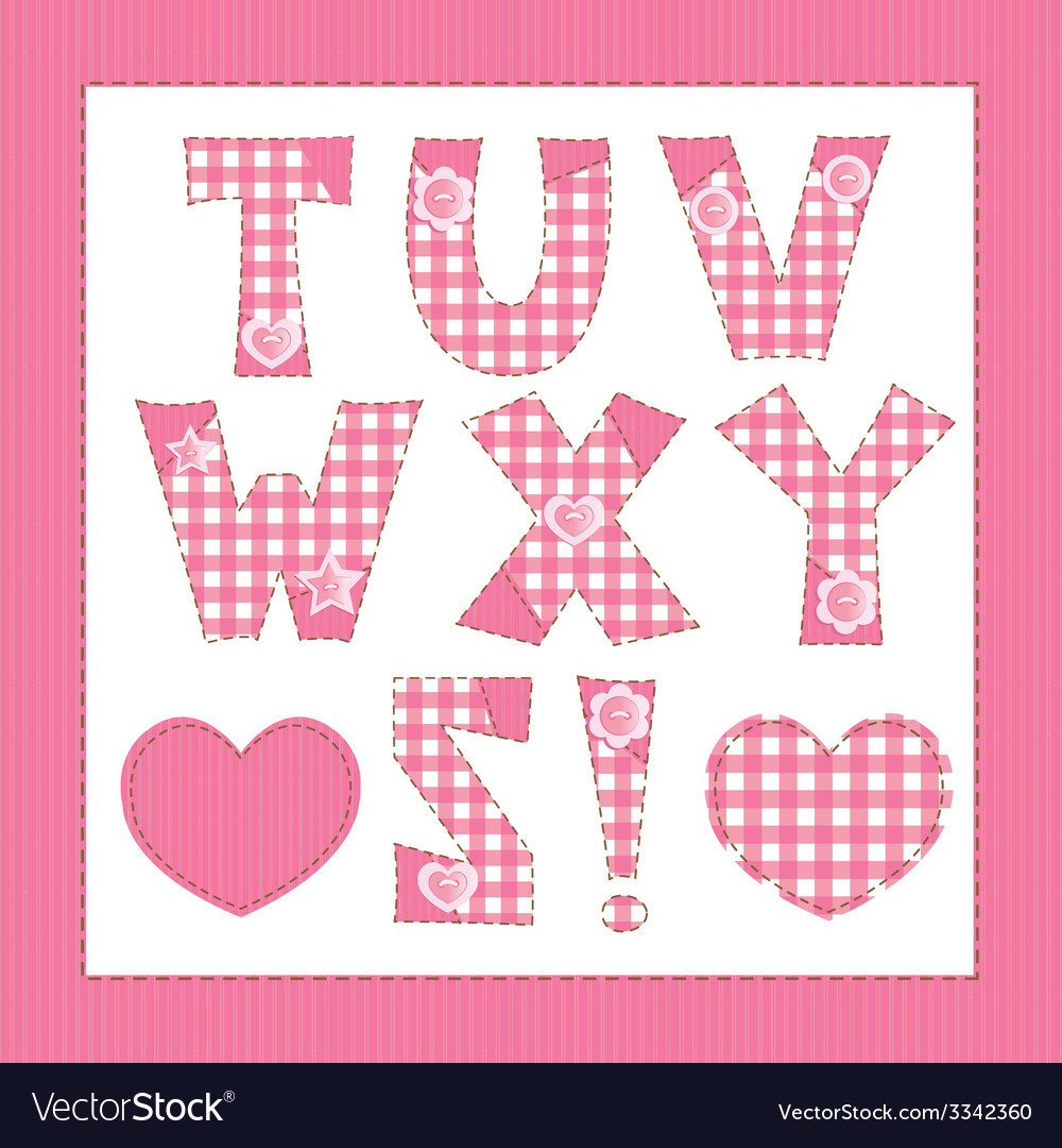 Pink fabric letters t u v w x y z vector | Price: 1 Credit (USD $1)
