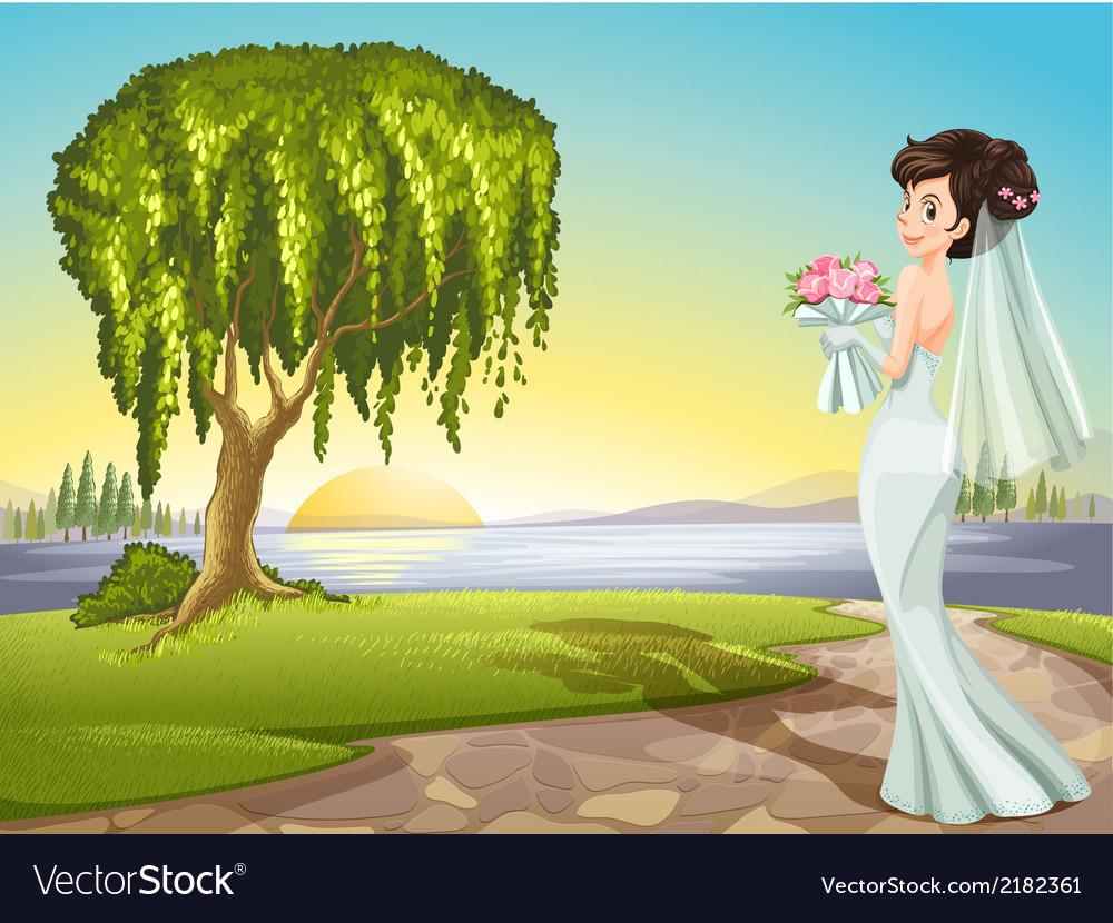 A bride at the road vector | Price: 1 Credit (USD $1)