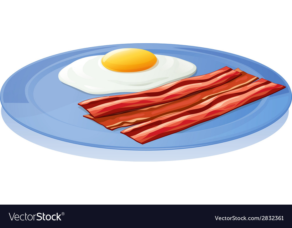 A plate with an egg and a bacon vector | Price: 1 Credit (USD $1)