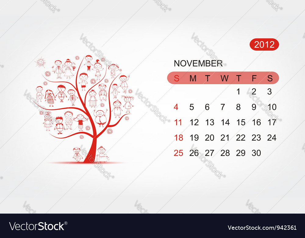 Calendar 2012 november art tree design vector | Price: 1 Credit (USD $1)