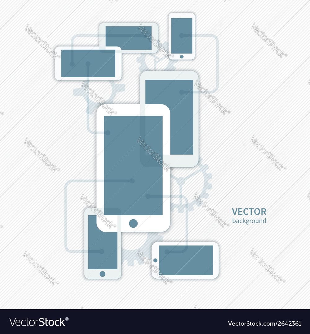 Cellphone smartphone and gear icon background vector | Price: 1 Credit (USD $1)