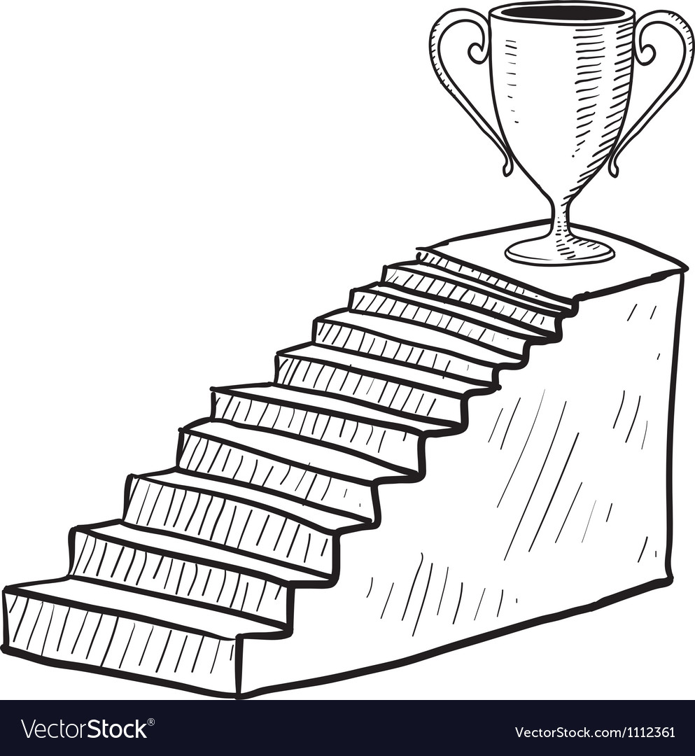 Doodle stairway reward trophy vector | Price: 1 Credit (USD $1)