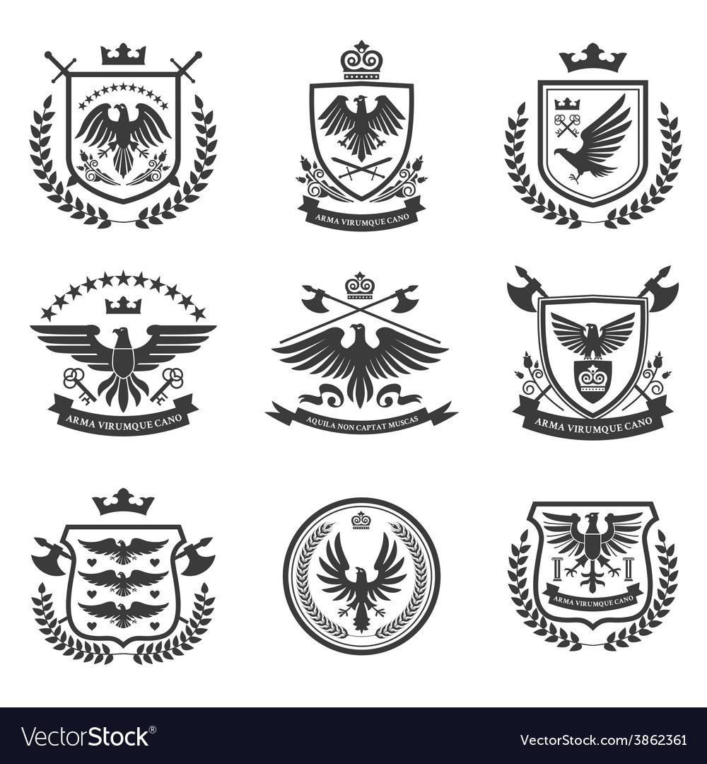 Eagle emblems icon set black vector   Price: 1 Credit (USD $1)
