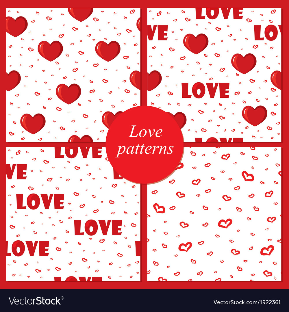 Four love patterns vector | Price: 1 Credit (USD $1)
