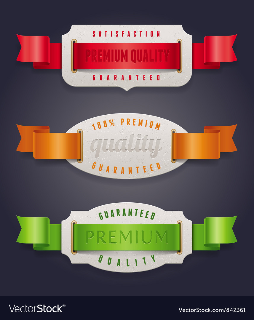 Labels of quality with color ribbon vector | Price: 1 Credit (USD $1)