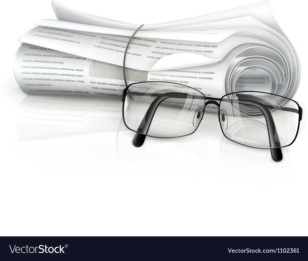 Newspaper and glasses vector | Price: 1 Credit (USD $1)