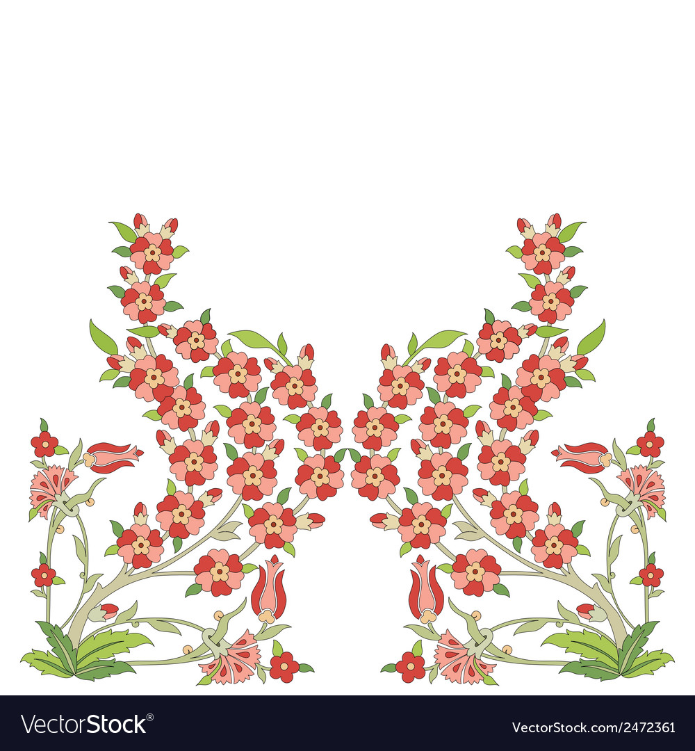 Ottoman art flowers sixteen version vector | Price: 1 Credit (USD $1)