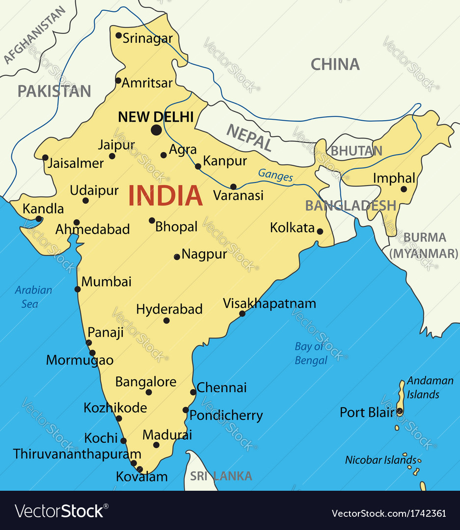Republic of india - map vector | Price: 1 Credit (USD $1)