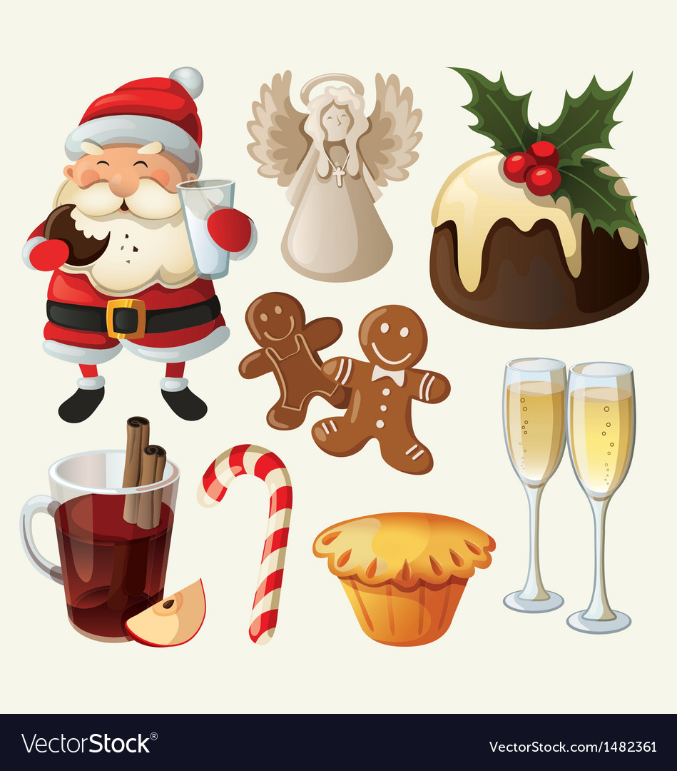 Set of festive food and decorations for christmas vector | Price: 3 Credit (USD $3)