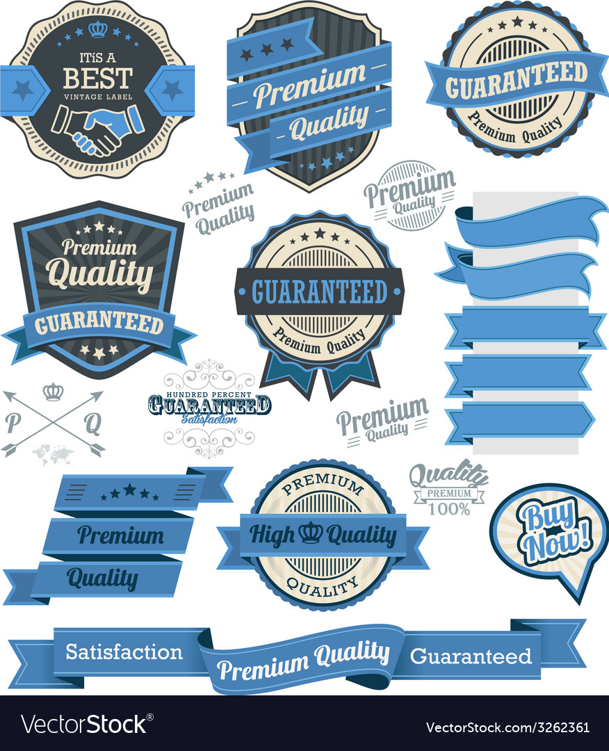 Set of vintage badges and design elements vector | Price: 1 Credit (USD $1)