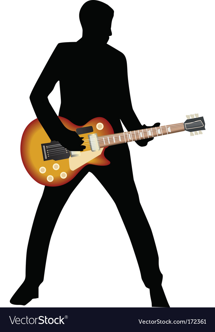 Silhouette man and guitar vector | Price: 1 Credit (USD $1)
