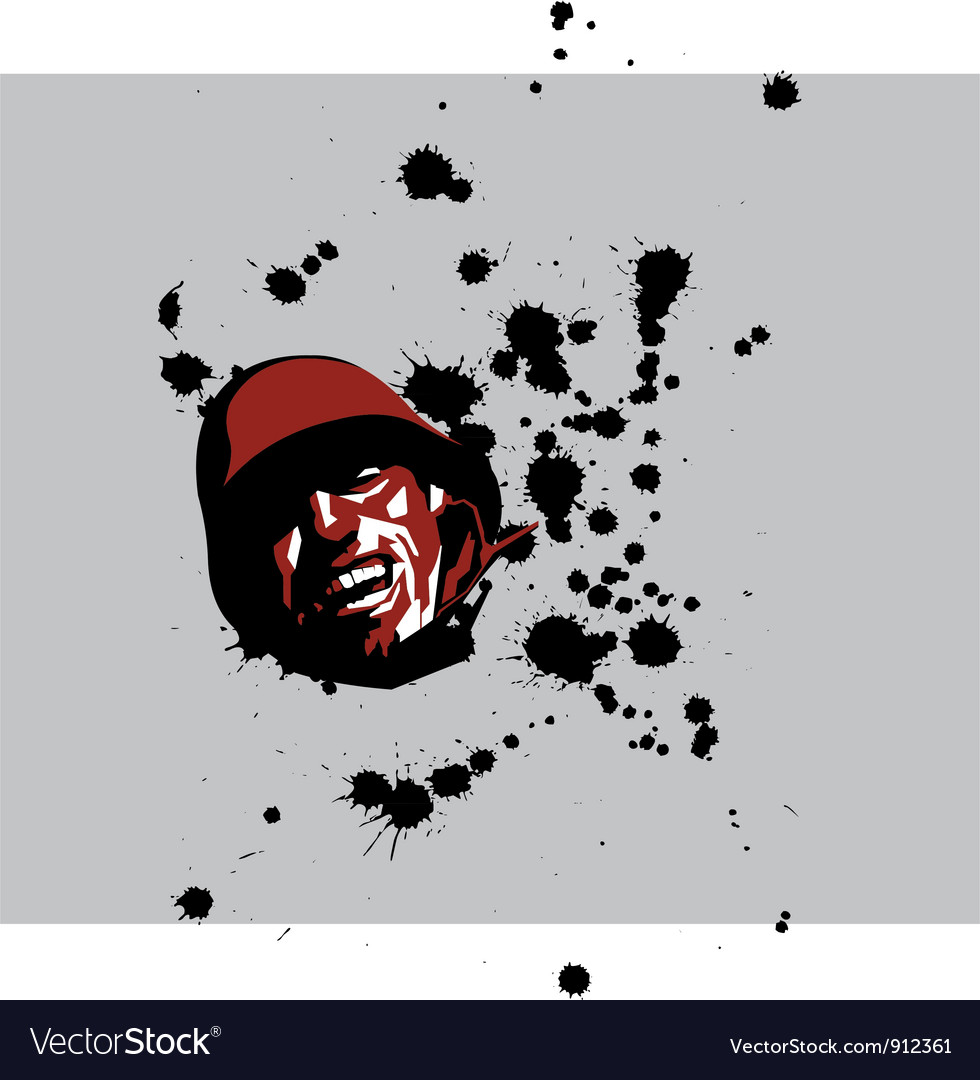 Soldier with blood drops vector | Price: 1 Credit (USD $1)