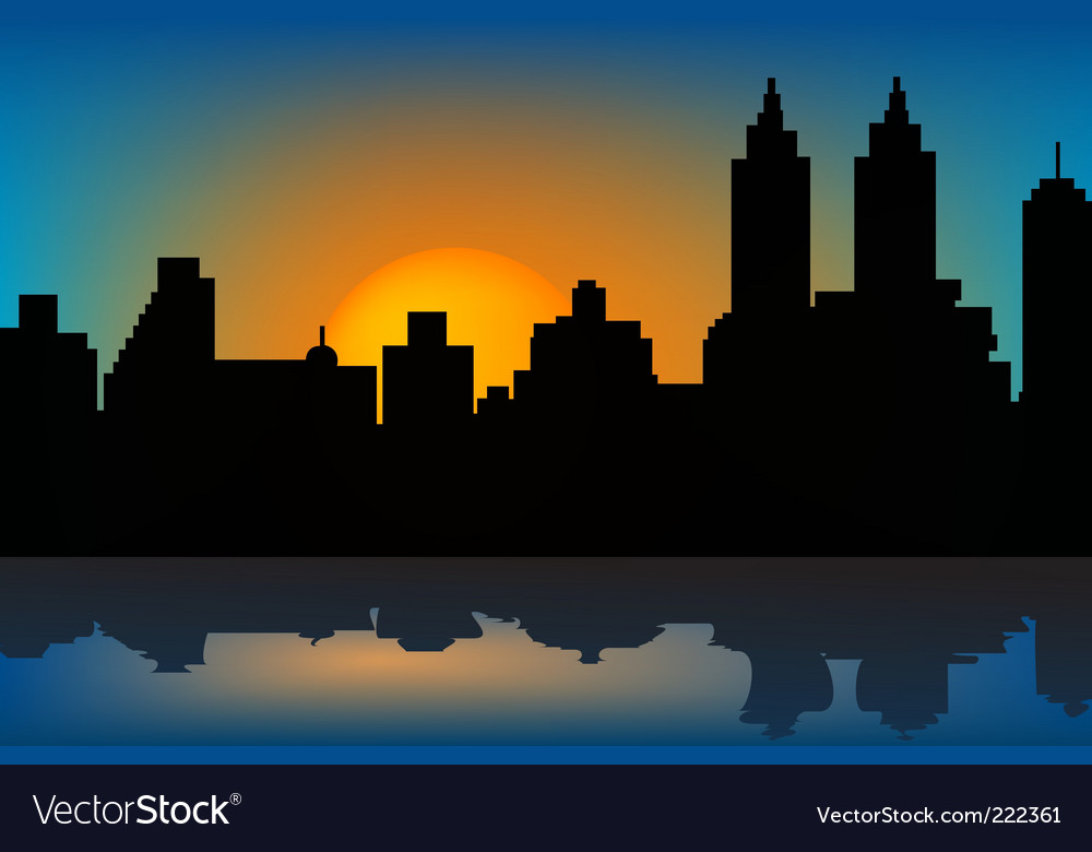 Sunset and skyscrapers vector | Price: 1 Credit (USD $1)