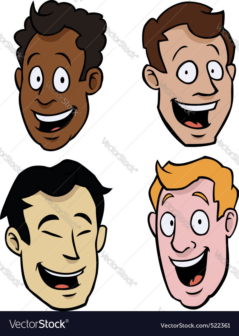 Various male cartoon faces vector | Price: 1 Credit (USD $1)