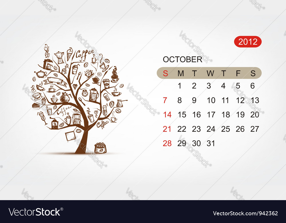 Calendar 2012 october art tree design vector | Price: 1 Credit (USD $1)