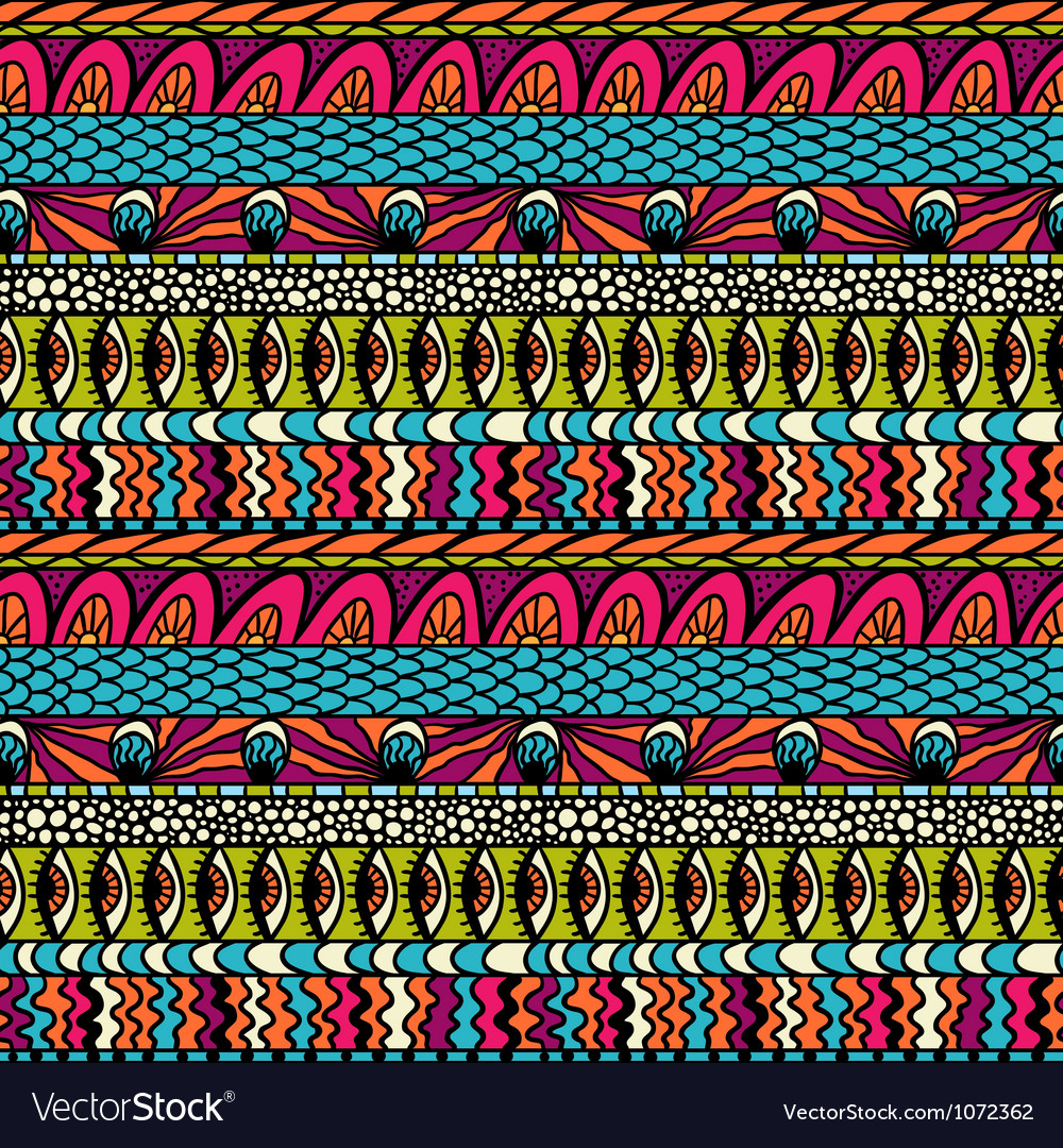 Colorful ethnicity ornament seamless pattern vector | Price: 1 Credit (USD $1)