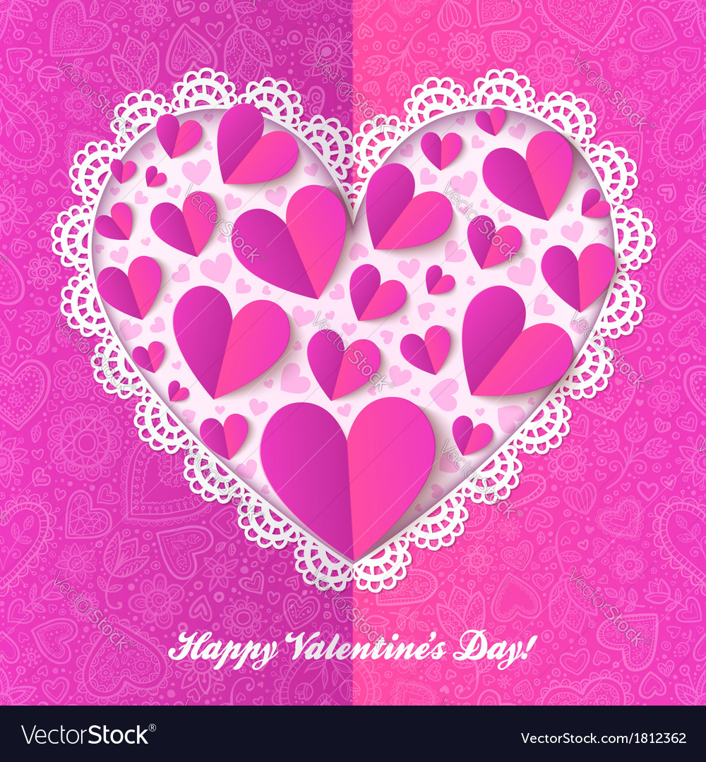 Cutout lacy paper heart on pink ornate background vector | Price: 1 Credit (USD $1)