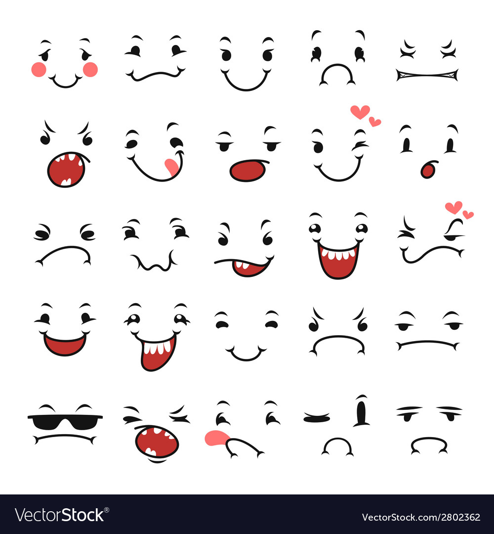 Doodle facial expressions set for humor design vector | Price: 1 Credit (USD $1)