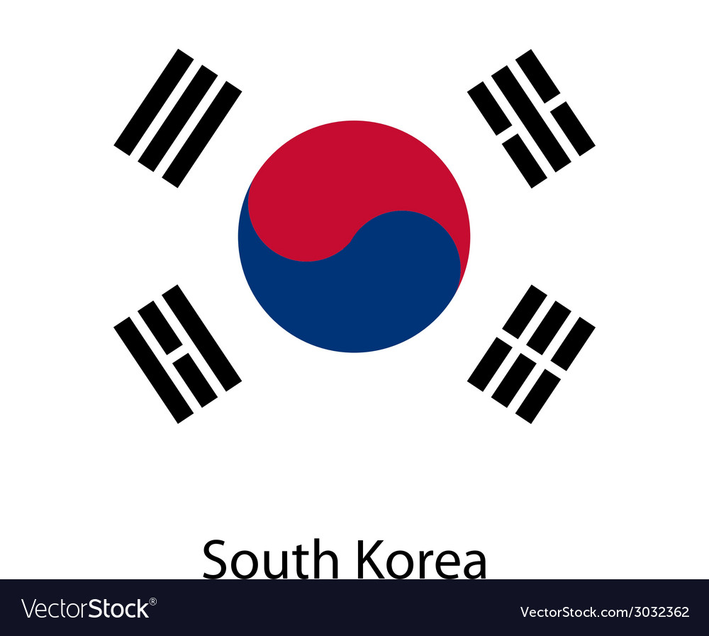 Flag of the country south korea vector | Price: 1 Credit (USD $1)